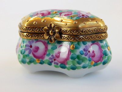 Chamart Limoges France Hinged Blue Box, Orchids, 2 Mini Jeweled ...