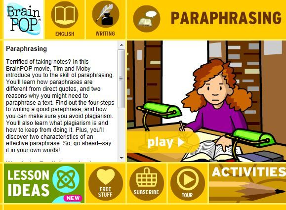 Brainpop Movie About The Skill Of Paraphrasing Paraphrase How To Introduce Yourself Writing Skills
