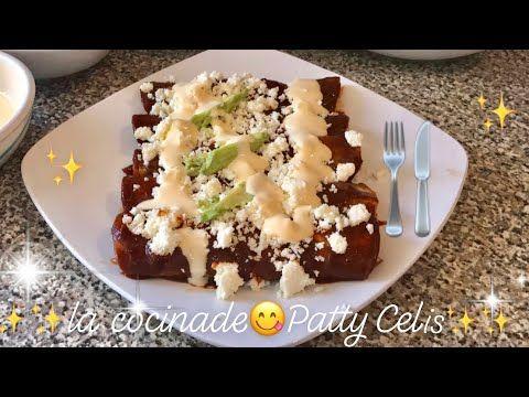 Enchiladas de mole rellenas de pollo y queso | deliciosas ...
