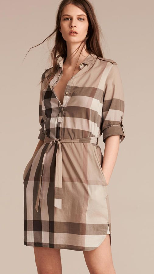 Burberry Check Cotton Shirt Dress Bags Cotton Shirt Dress
