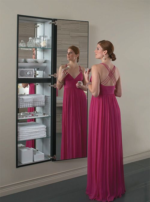 Full length mirror cabinet by robern home full length - Bathroom mirror with hidden storage ...