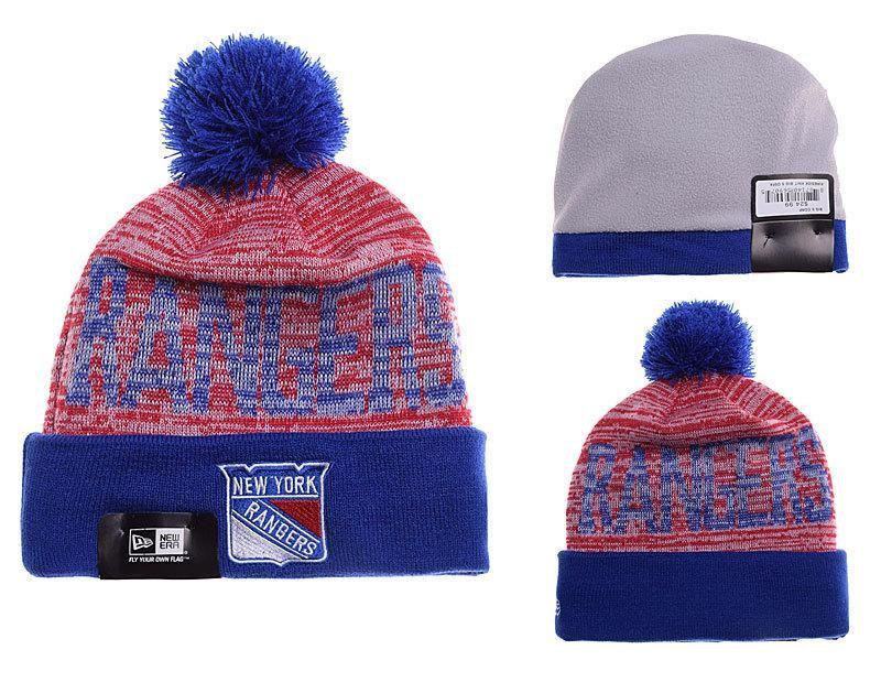 a9dd8e4435b ... pom knit hat blue red large 887ea ffa65 official mens womens new york  rangers new era nhl word fuzz vivid team graphic cuffed knit ...