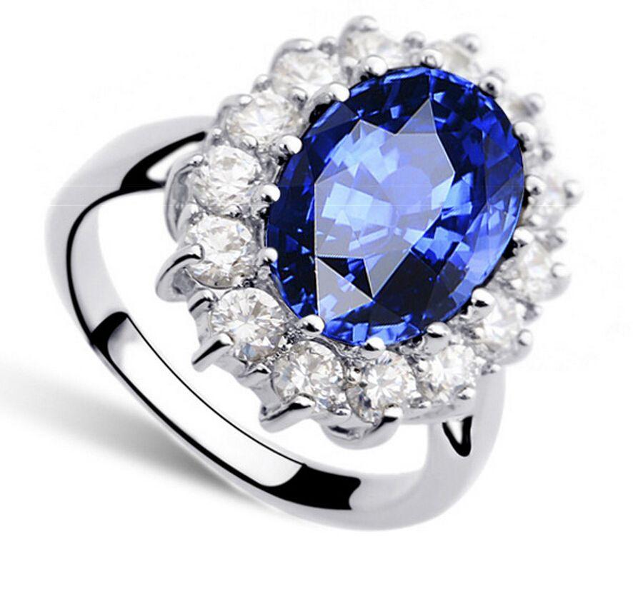 케이트 다이애나 윌리엄 2.5ct 블루 크리스탈 약혼 결혼 반지 사랑 레이디 925 스털링 실버 고급 보석