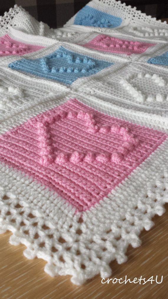 Crochet Pattern Heart Afghan Crochet Blanket Pattern Baby Blanket