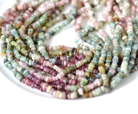 Organic Tourmaline Heishi Rondelle Beads