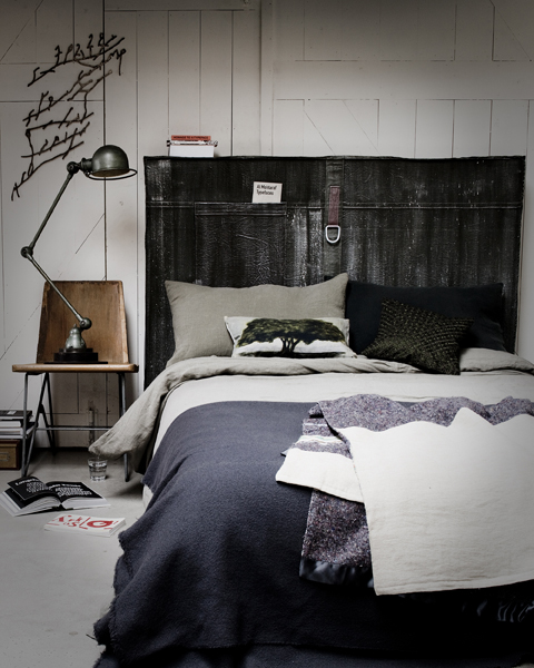 Leather belt bedhead and charcoal greys well rested for Bedroom bedhead design