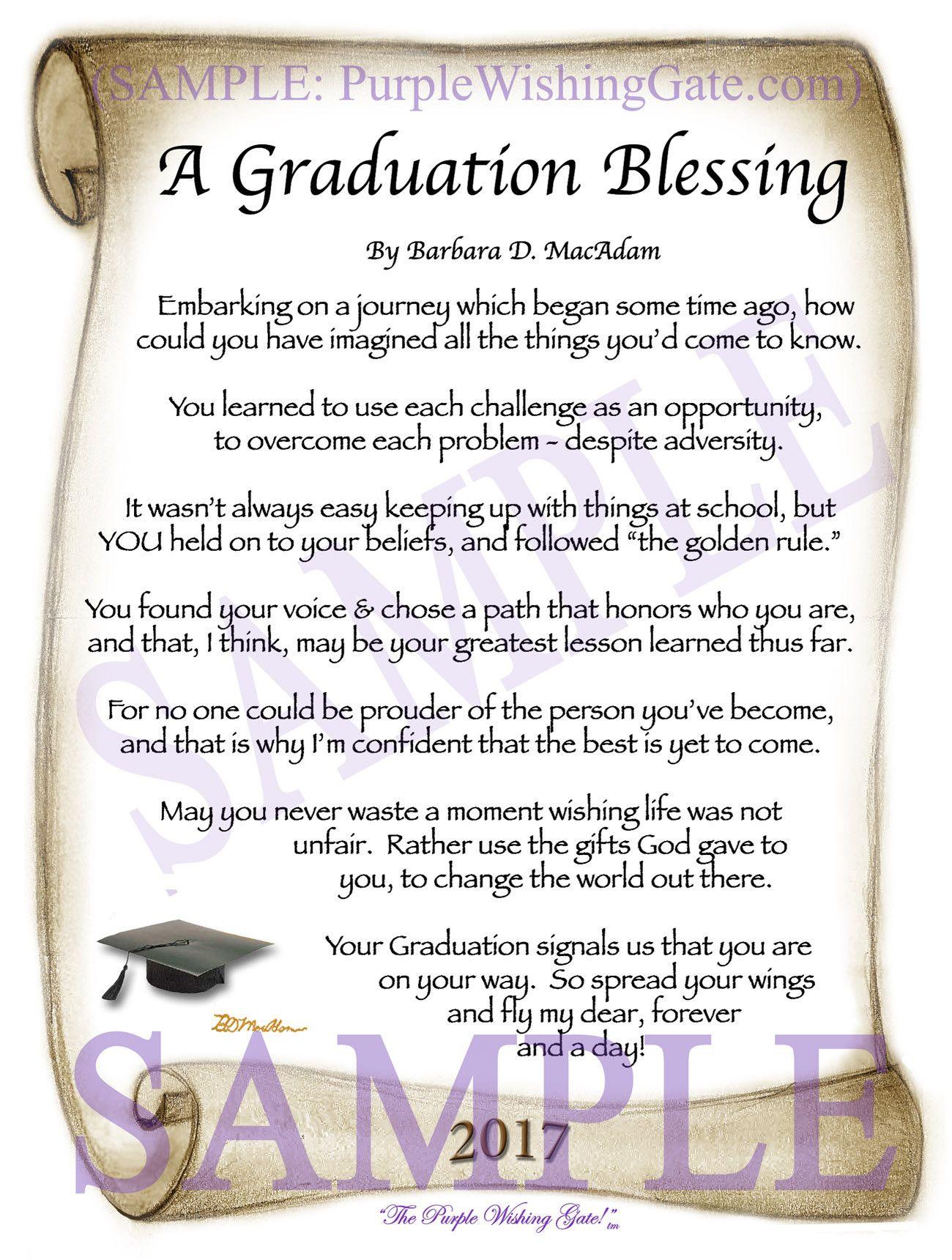 A Graduation Blessing Gradation Birthday Blessings