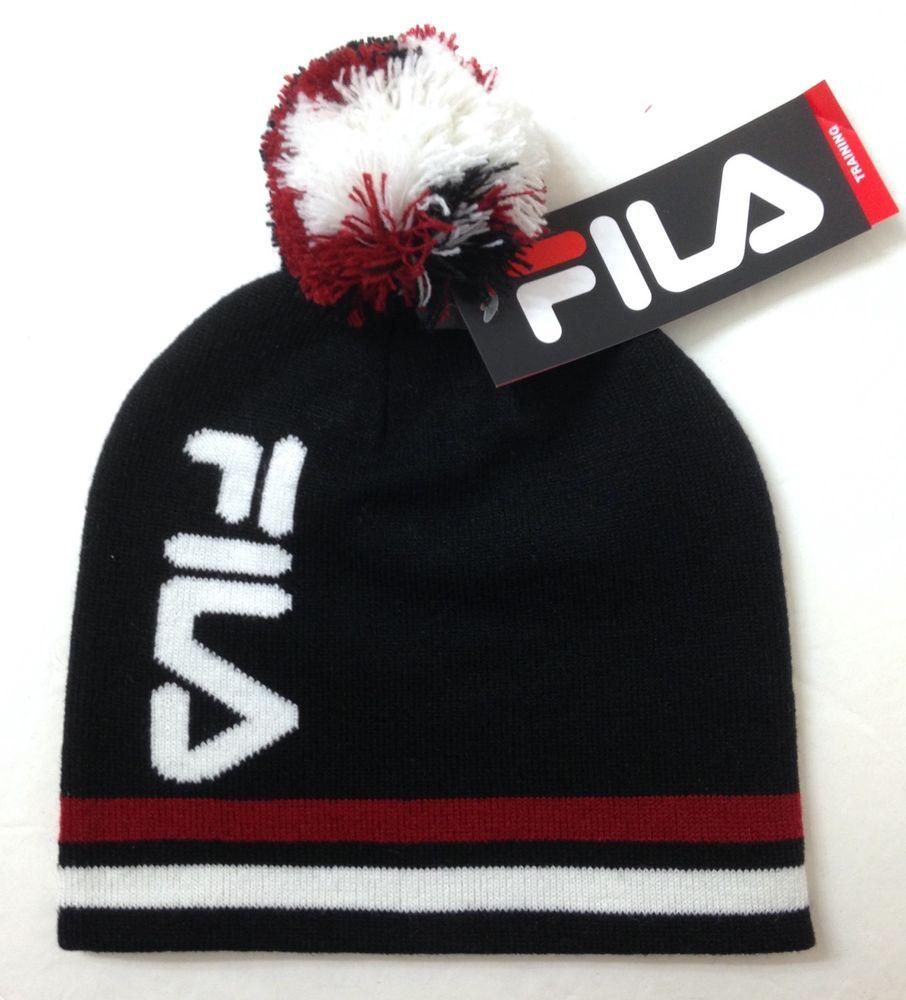 21c27c02 men/women FILA POM BEANIE uncuffed winter knit training hat BLACK white  dark-red #FILA #Beanie