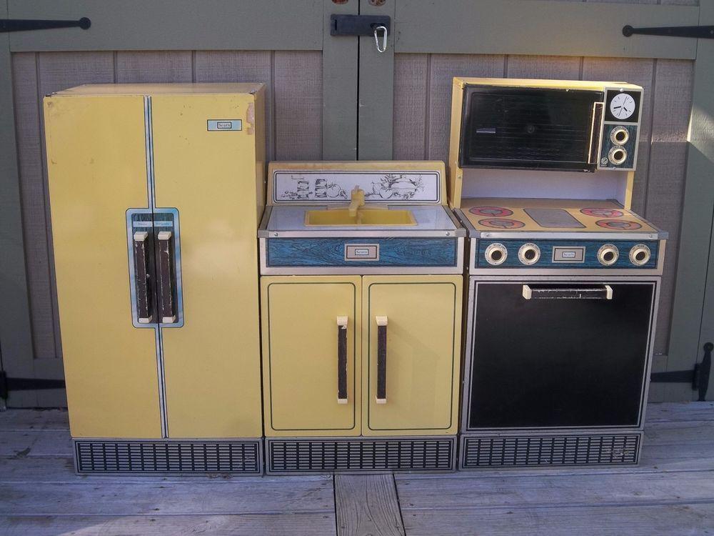 Vintage Kids Kitchen Set Sears Refrigerator Sink Stove Oven Play