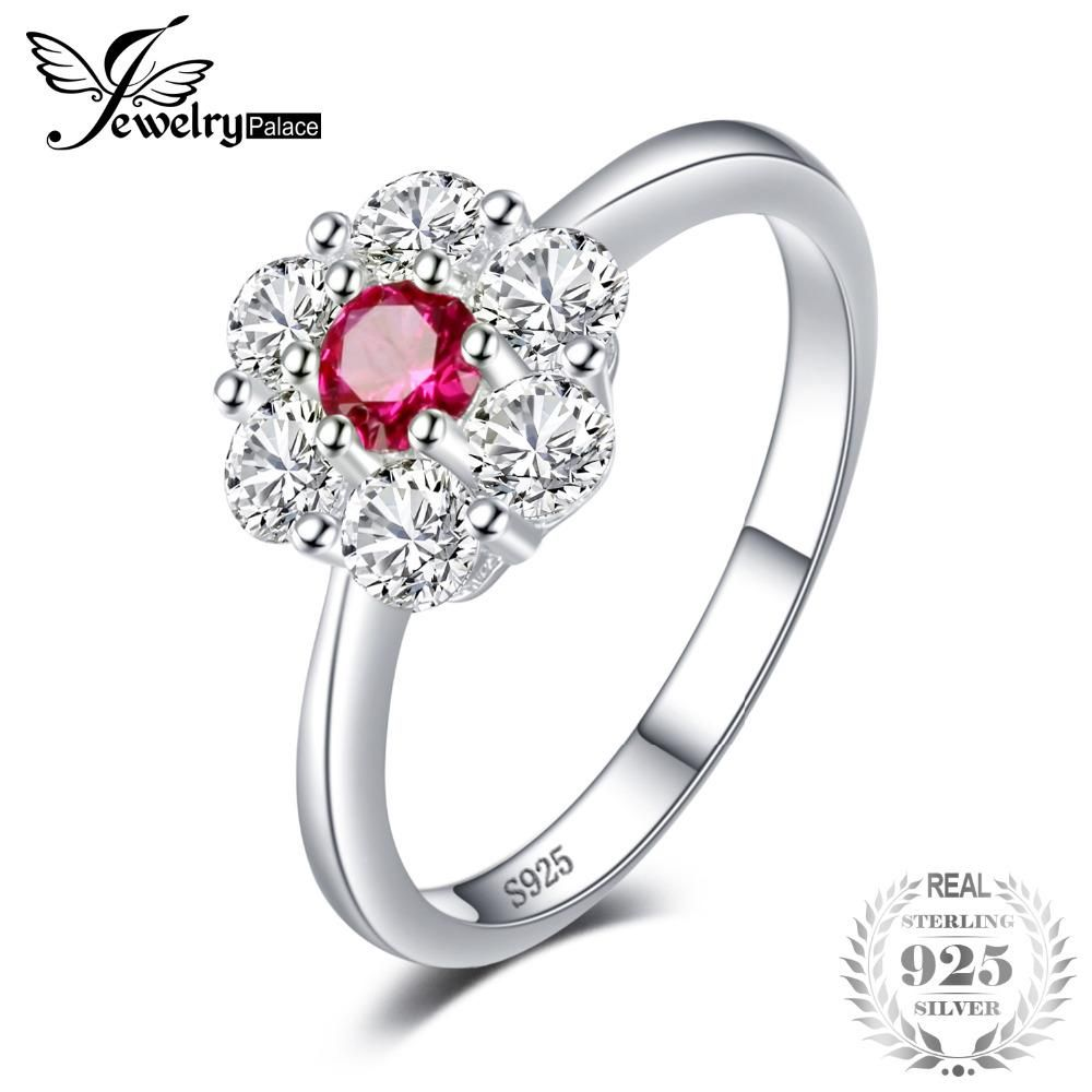 c77b6ab2c3011 JewelryPalace Flower 0.8ct Created Ruby Halo Ring For Women Ring 925  Sterling Silver Ring Valentine s Day Present Jewelry