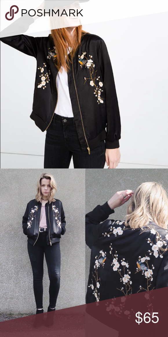 1969afcb2 NEVER WORN ZARA satin embroidered jacket Chic and edgy Zara satin ...