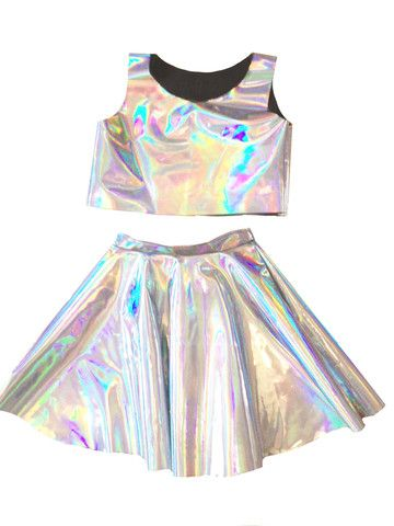258b3a21c727 Handmade in New York. Holographic set of a cropped top and circle skirt.  please