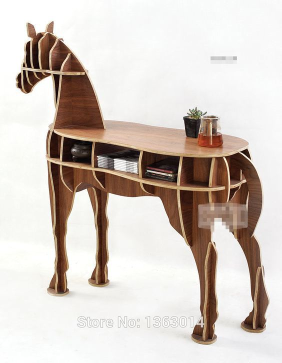 Photo of OTHER Home Office Wooden Horse Style Desk, Black Walnut Color
