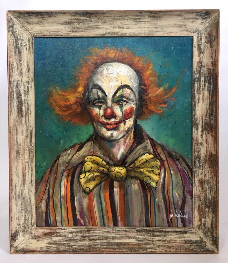Jon Helland Clown Painting Framed Original Oil On Canvas