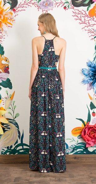 Vestido Longo Jardim dos Cisnes | Vestidos, Vestidos antix