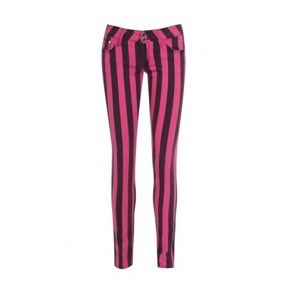 AX Paris Striped Fitted Black & Pink Jeans (€17) ❤ liked on Polyvore featuring jeans, pants, bottoms, pantalon, pink jeans, fitted jeans, pink skinny jeans, striped skinny jeans and ax paris