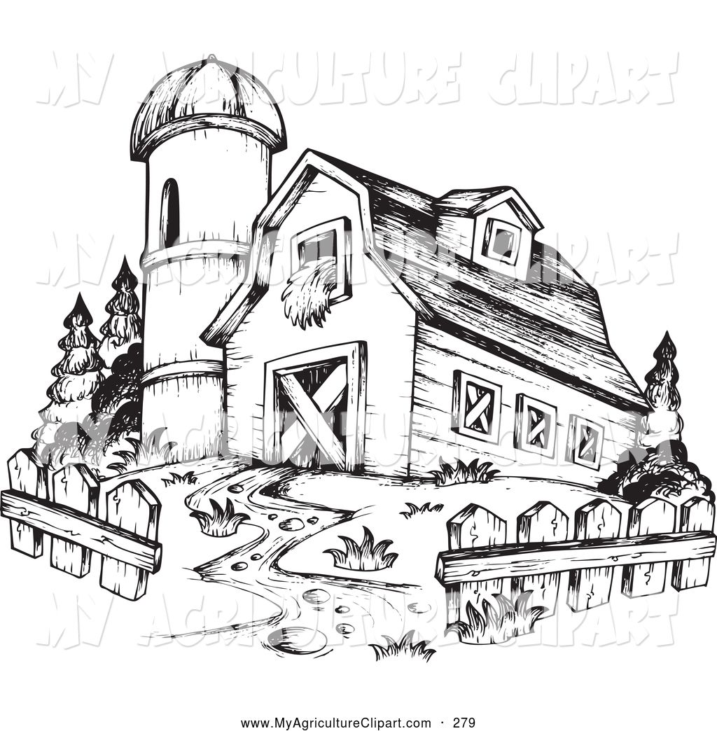 Vector Agriculture Clipart of a Black and White Barn and Silo by ...