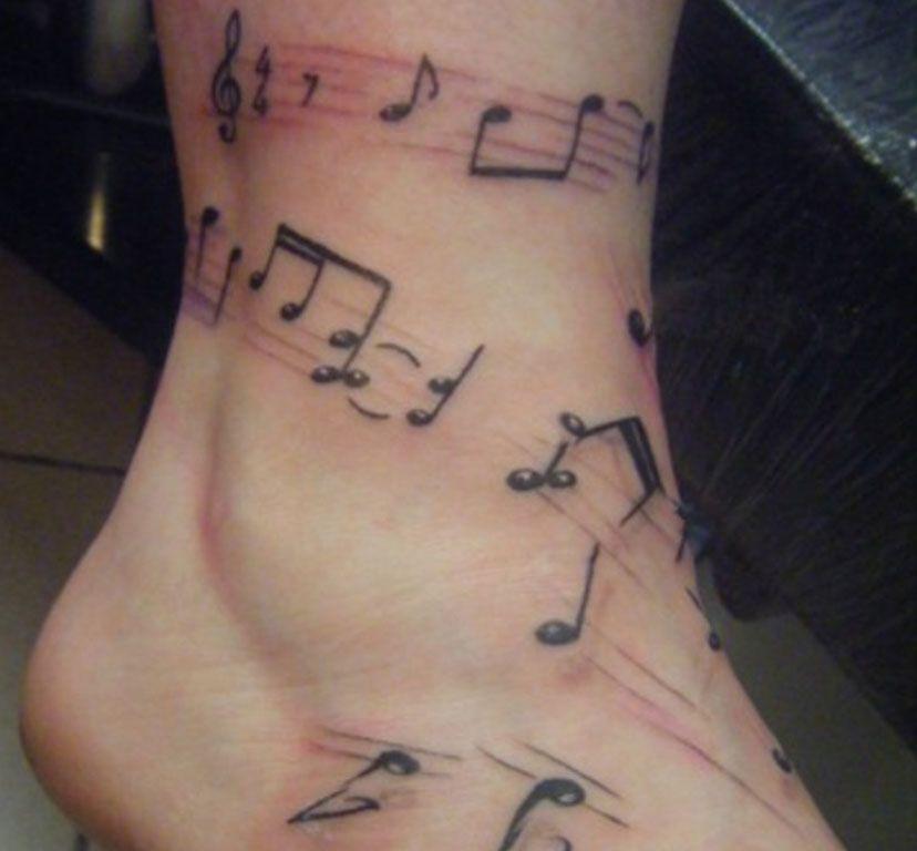 Leg Musical Notes Tattoo   Tattoo   Pinterest   Note tattoo, Tattoo ...