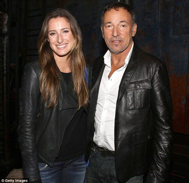 Out with dad: Jessica and Bruce backstage after a performance of The Last Ship at the Neil...