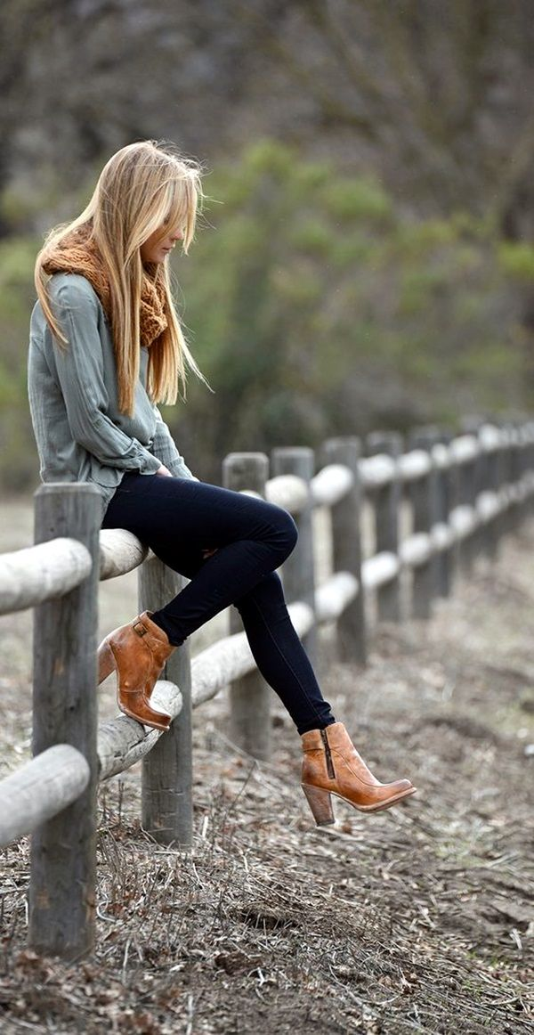 Womens Outfits With Brown Ankle Boots