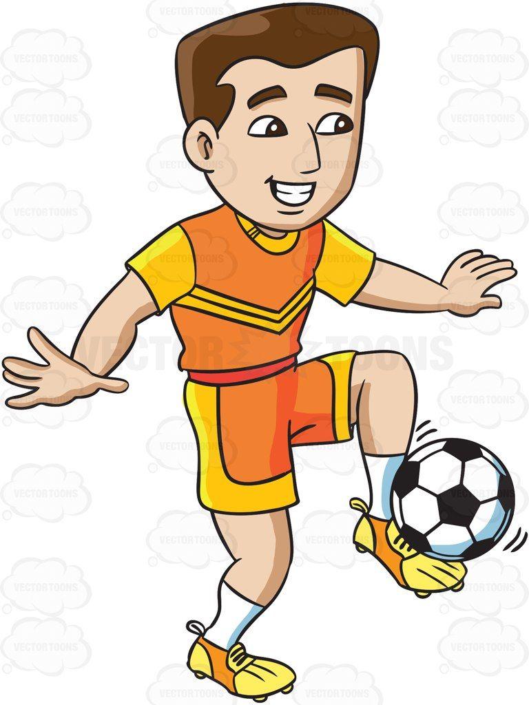 A Male Soccer Athlete Dribbling The Ball Vector Graphics Vectortoons Com Soccer Athlete Cartoon Clip Art