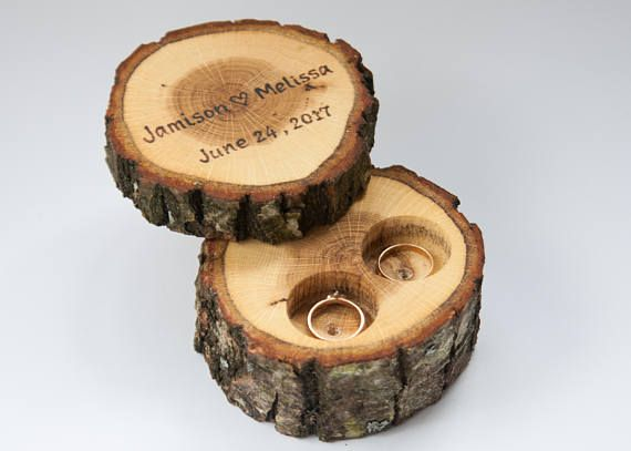 Personalized Name Engagement Ring Bearer Box Wooden Ring Box Ring Holder Tree Branch Ring Bearer Rustic Tree Slice