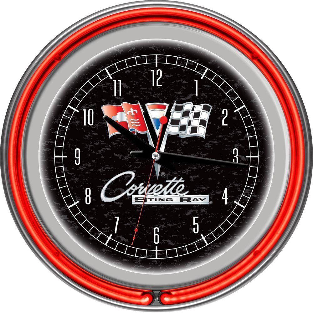 Trademark Global 14 In Corvette C2 Red Chrome Double Ring Neon Wall Clock Gm1400r C2 Cor Neon Clock Corvette C2 Clock
