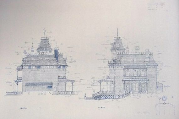 Wonderful 11 x 17 blueprint of the front and rear elevations of the - new old blueprint art