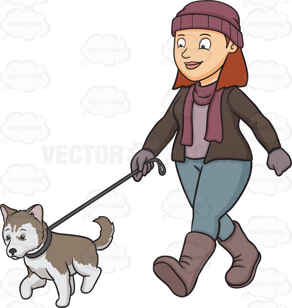 A woman walking her Siberian Husky puppy #cartoon #clipart ...