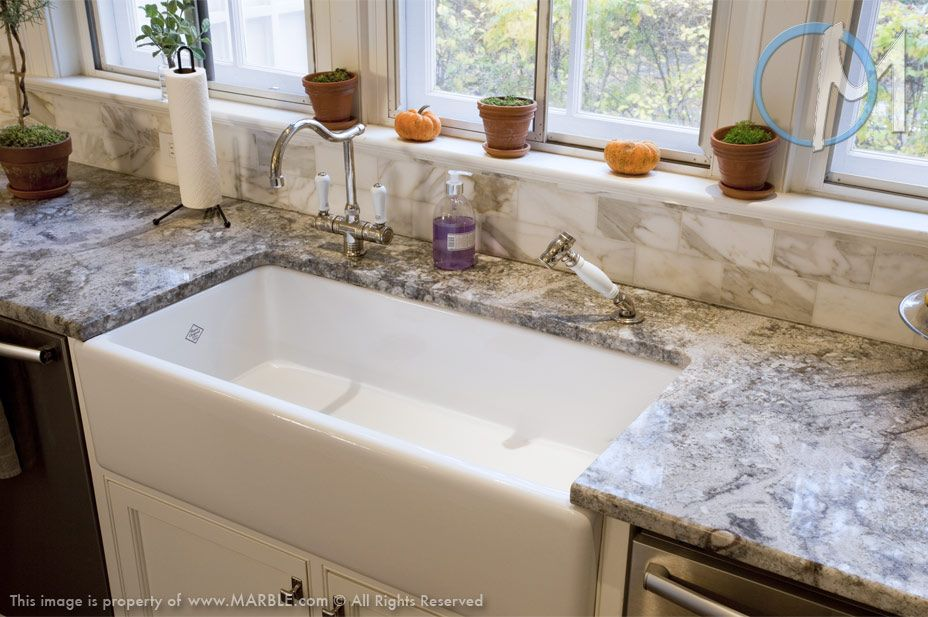 This Farm Sink Is Offset By The Blue And Grey Pattern Within Azul