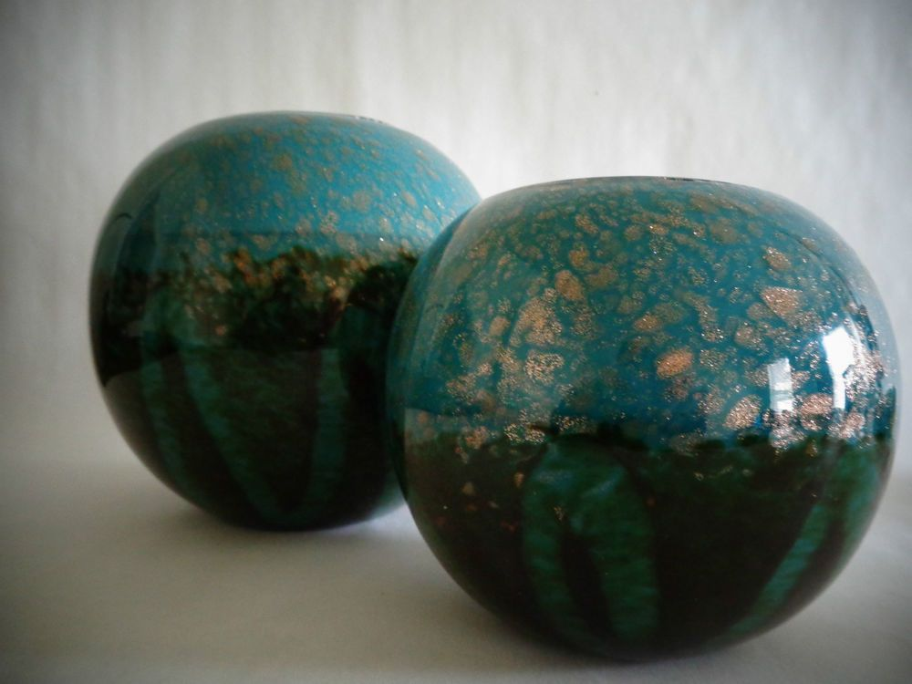 Lot of 2 Turquoise~Black ~Gold HQT Handmade Home Designs Art Glass ...