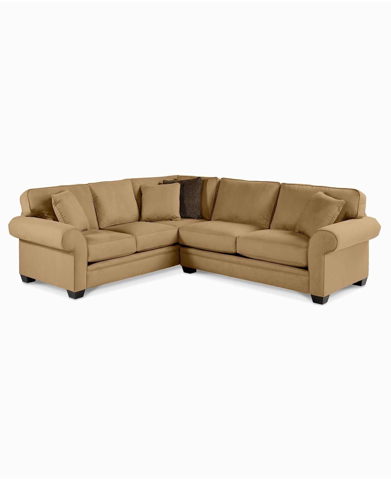Raja Fabric Microfiber Sectional Sofa, 2 Piece 112\