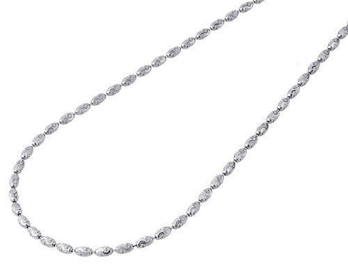 10k White Gold Womens 1 2mm Rice Moon Link Chain Necklace 16 22 Inches Price Us 72 00 Necklace White Gold Chain Necklace