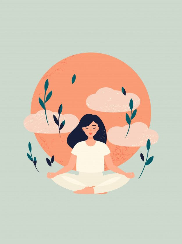 Illustration Of Yoga Girl Meditation With Sun And Clouds