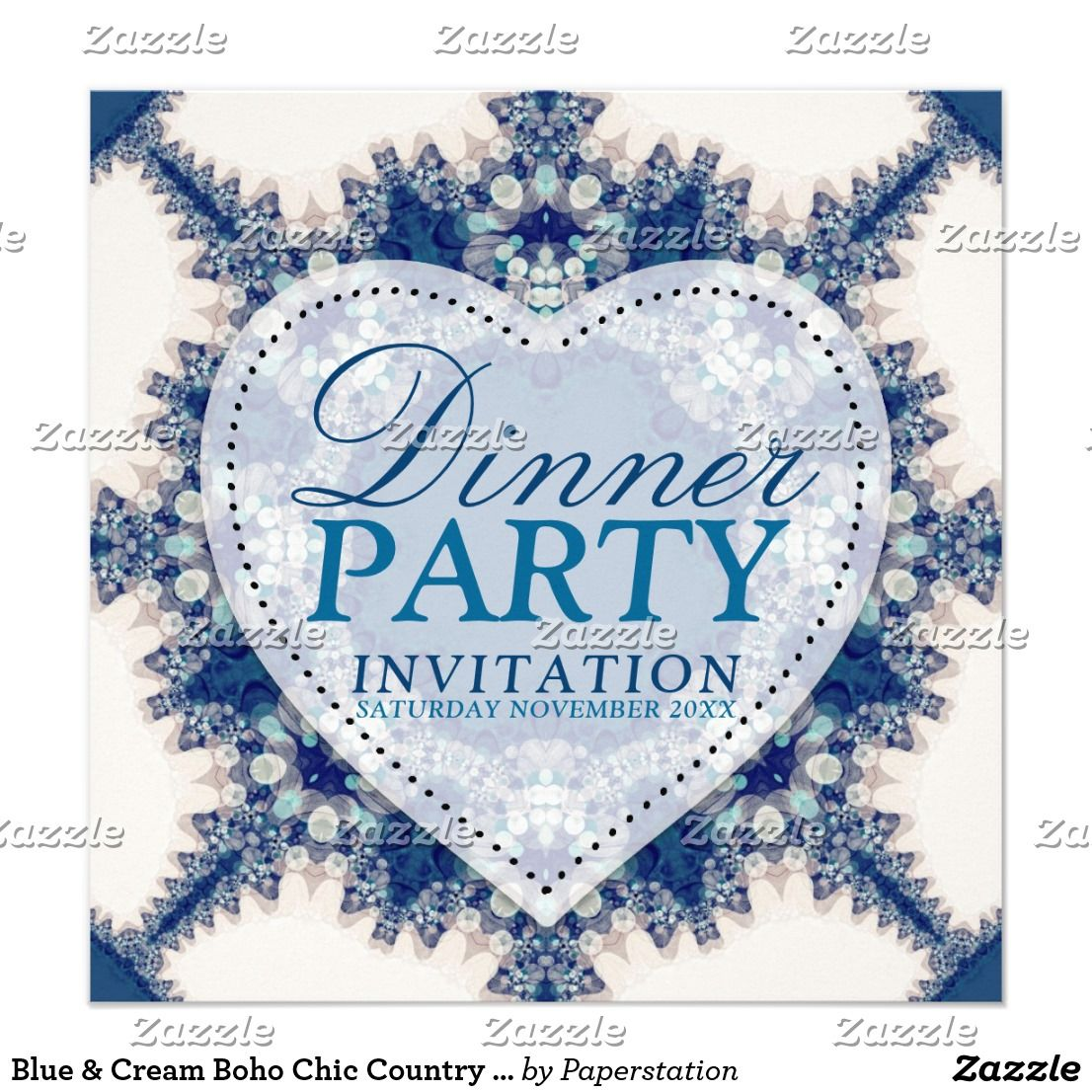 Blue & Cream Boho Chic Country Dinner Party Card