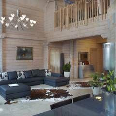 Wohnzimmer einrichtung design inspiration und bilder for Holzblockhaus modern