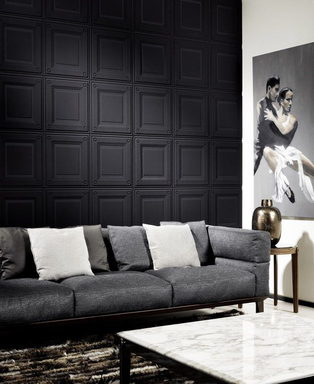 17 Ways To Decorate With Matte Black Black Wallpaper Living Room Living Room Wallpaper Texture Accent Walls In Living Room
