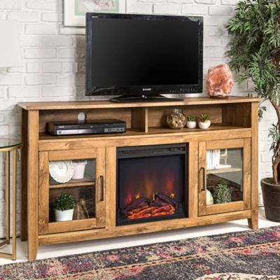 58 Transitional Wood Highboy Tv Stand With Electric Fireplace