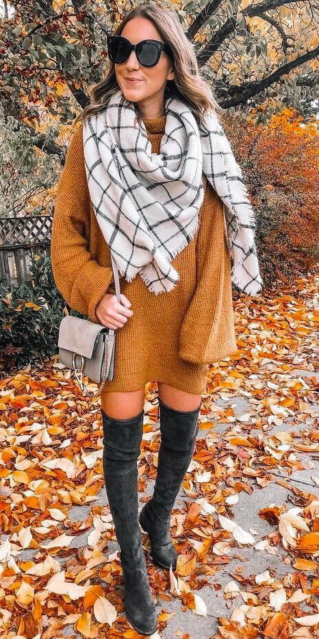 Women's Fashion Fall Winter Outfits Blanket Scarves  #sweaterdressoutfit Edgy fall look mustard sweater dress. Grid blanket scarves outfits. Over Knee high boots. Women's fashion casual chic style winter. mustard yellow outfit. #ilymixaccessories #fall #winterfashion #fashion