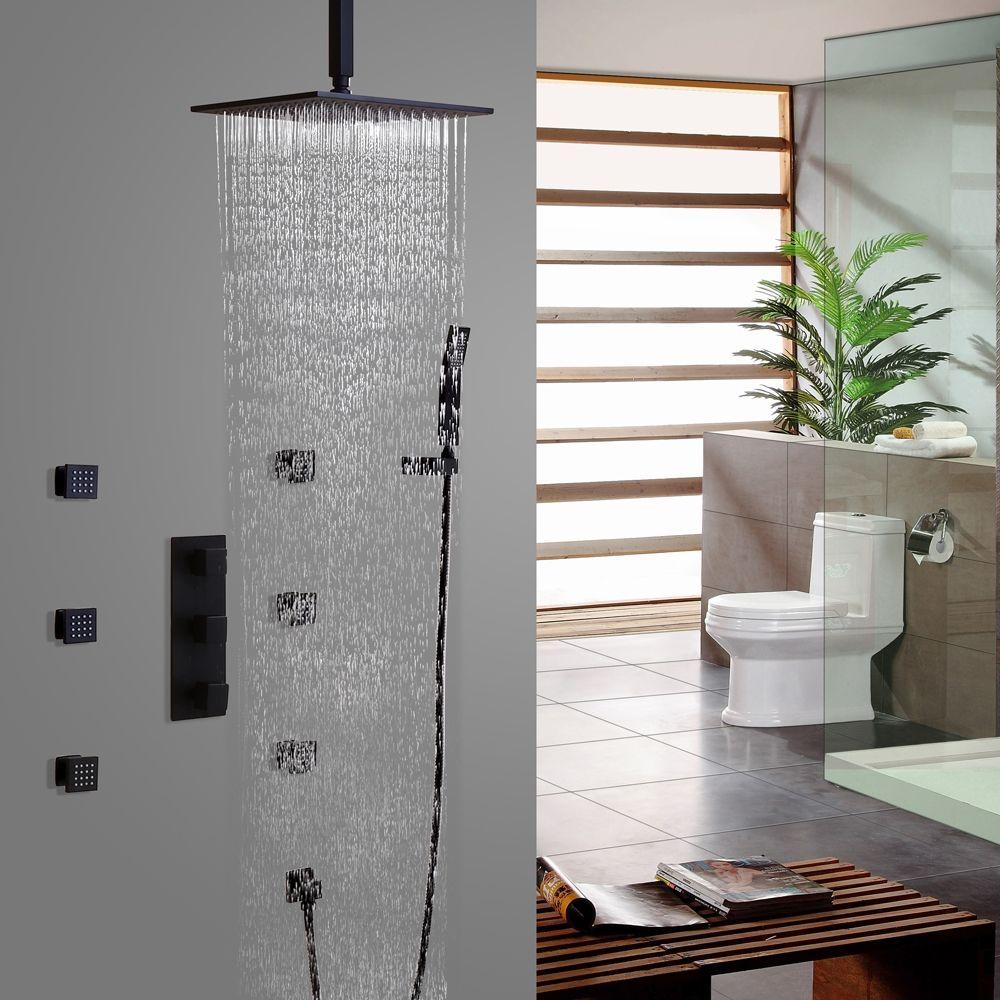 Contemporary Matte Black Shower System Ceiling Mount Rain Shower