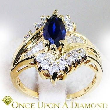 10k Yellow Gold 1 32ctw Marquise Blue Sapphire Diamond Cocktail Ring Blue Sapphire Diamond Diamond Cocktail Rings Gorgeous Jewelry