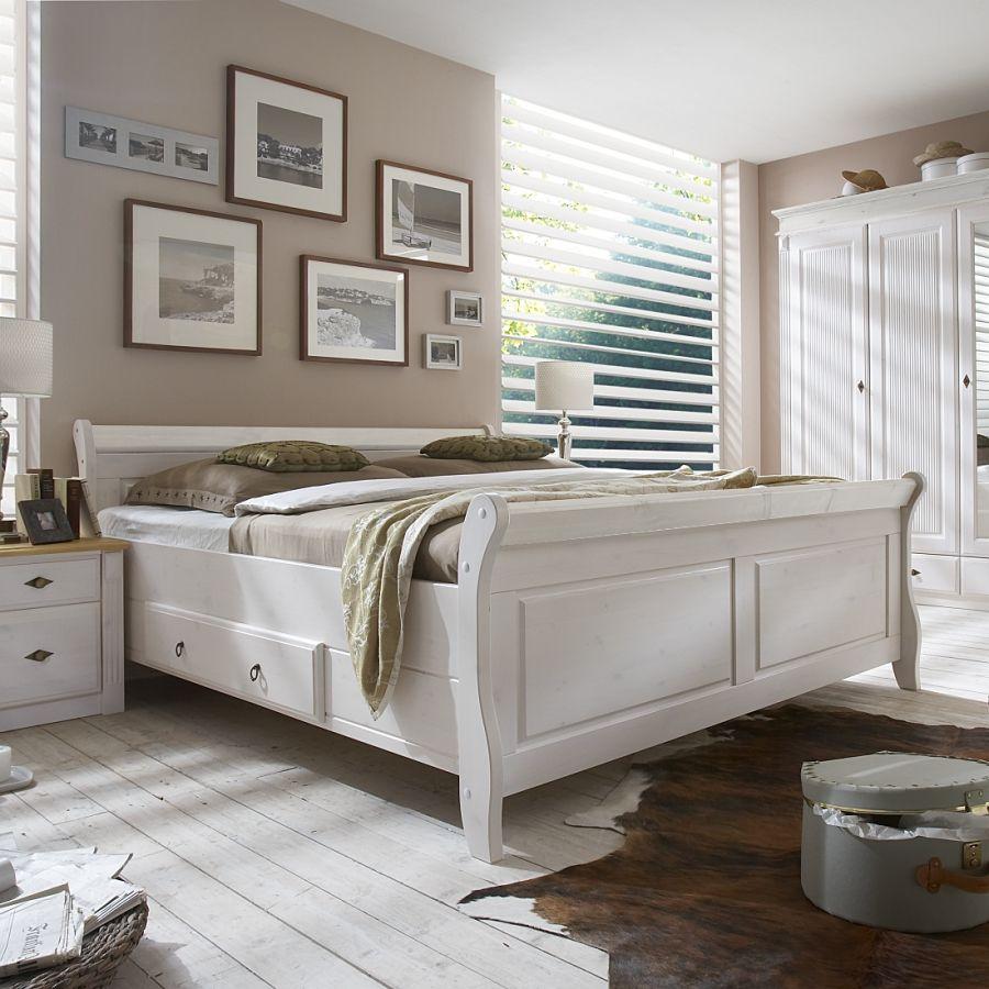 Massivholz Doppelbett Cenan In 2019 Schlafzimmer Landhaus Bett