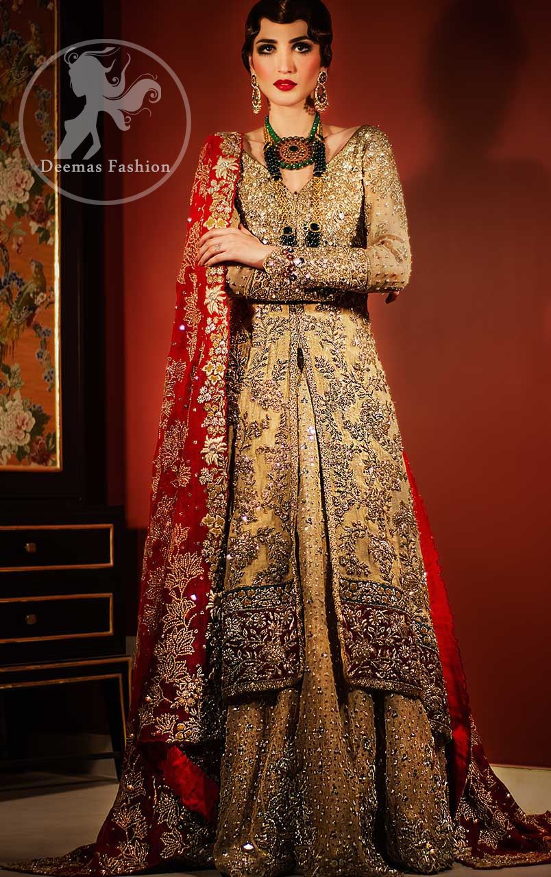 7d54f8511b Golden Front Open Back Trail Gown - Bridal Lehenga - Deep Red Dupatta