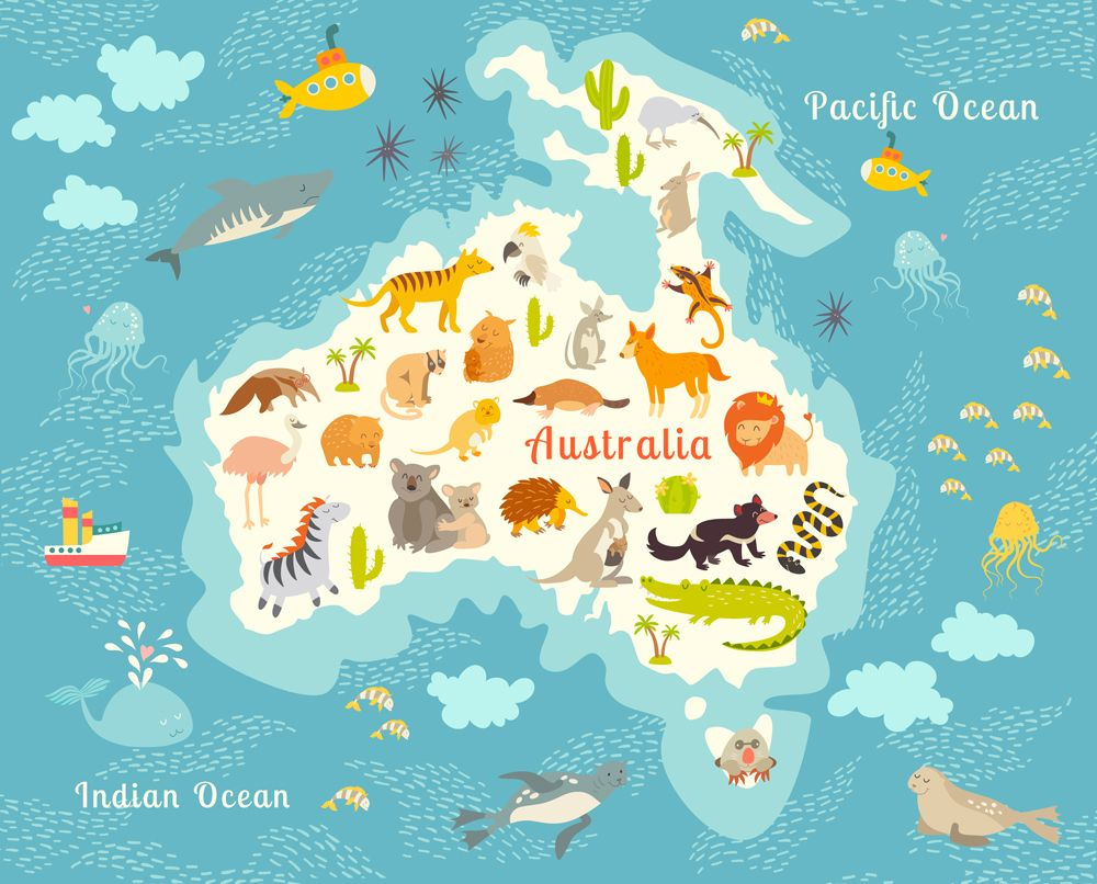 Animals world map, Australia by coffeee-in on Creative Market