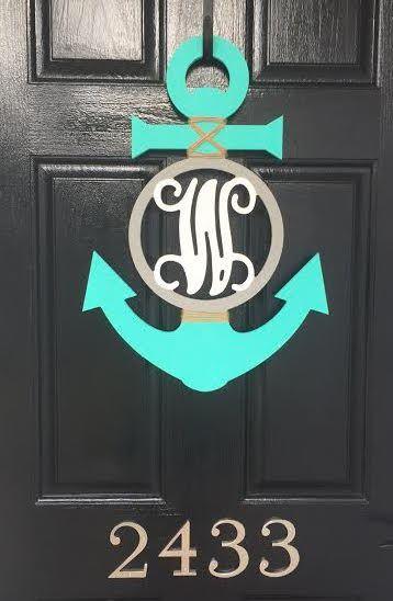 DIY painted monogrammed anchor door hanger nautical door hanger monogram house warming & DIY painted monogrammed anchor door hanger nautical door hanger ... Pezcame.Com