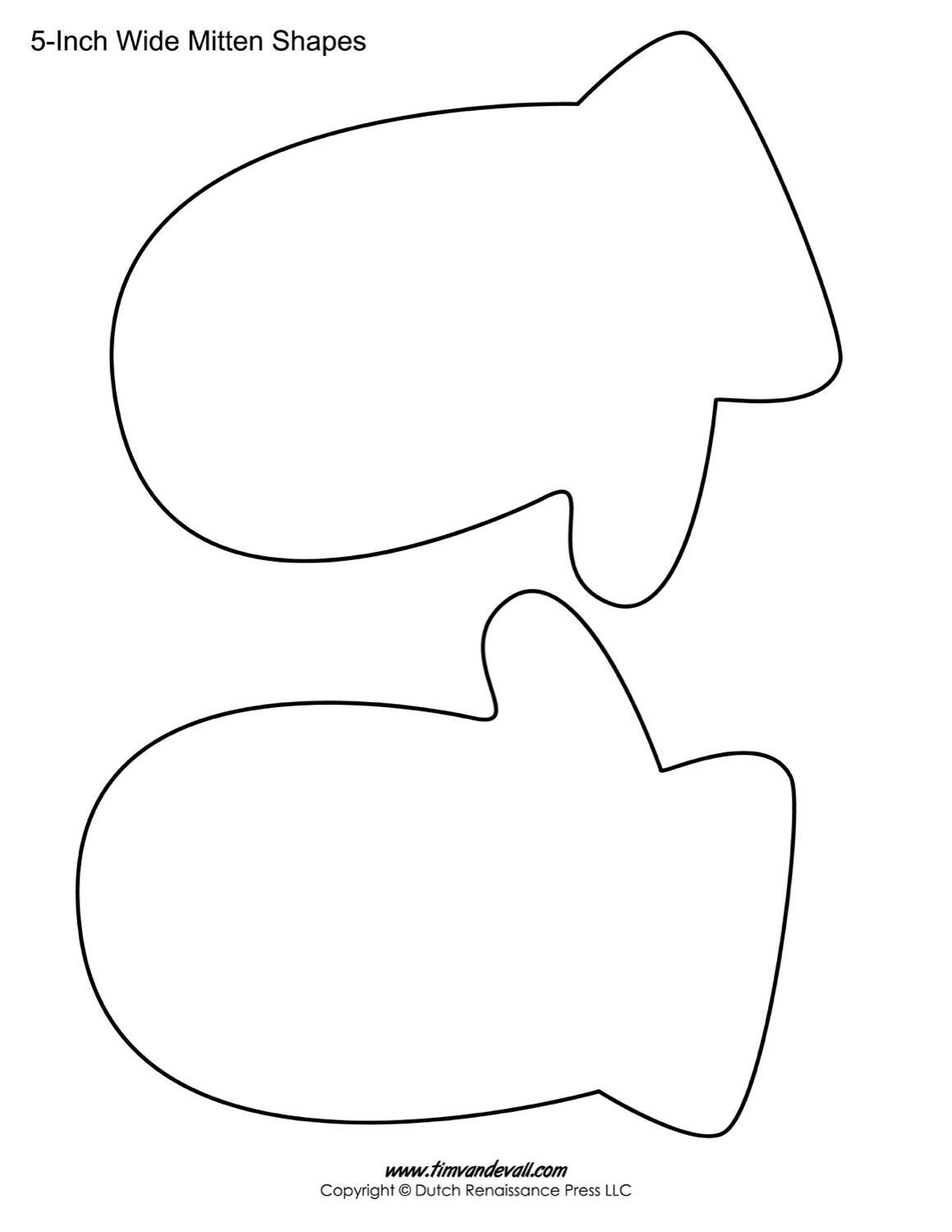 large coloring pages for mittens | Printable Mitten Templates | Blank Mitten Shape Pdfs for ...