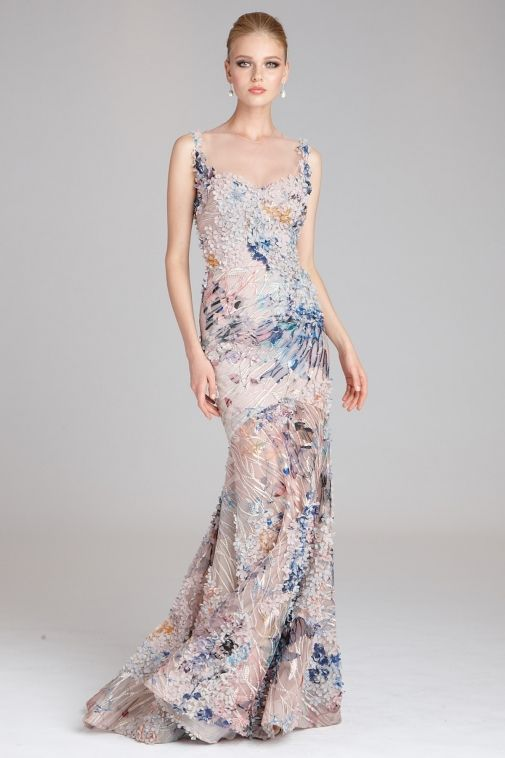 Teri Jon By Rickie Freeman Fl Lique Illusion Mermaid Gown Affiliate