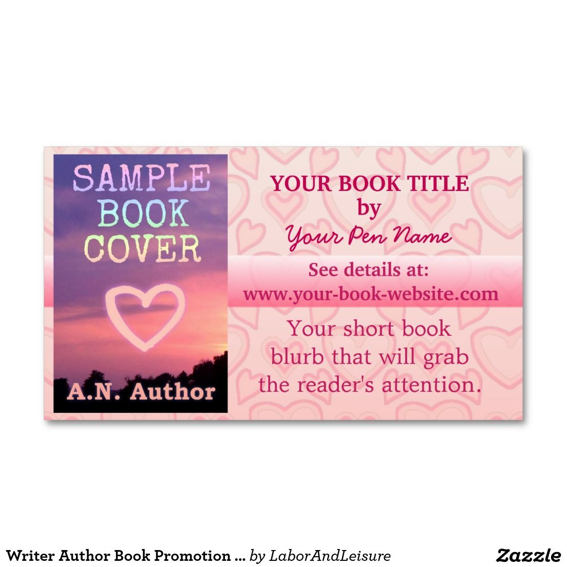 Romance Writer Author Book Promotion Pink Hearts Business Card | Writer