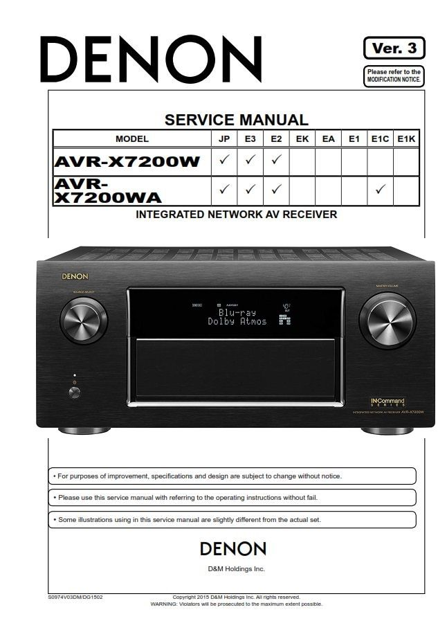 Denon Avr X7200w X7200wa Av Receiver Service Manual In 2020