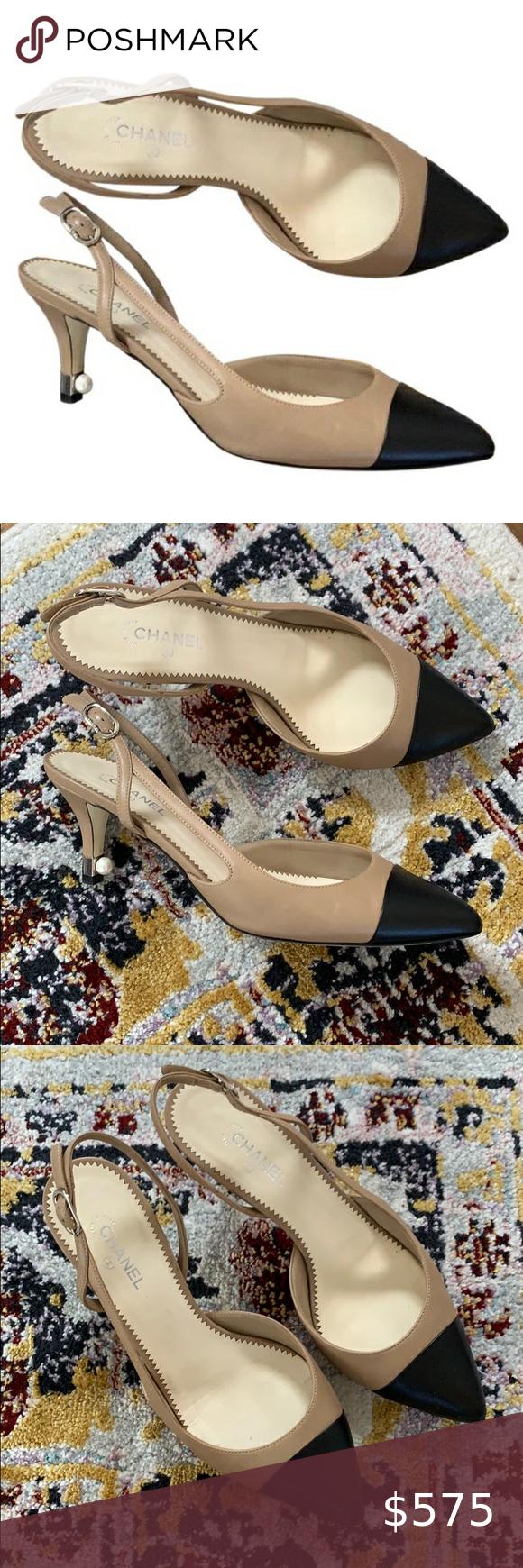 Chanel Pearl Kitten Heel Sling Slingbacks Sz 7 In 2020 Kitten Heels Chanel Shoes Heels Heels